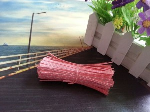 """Pink with White Polka Dots Twist Ties for Bakery Bags (3.75"""" Long) [100 packs/Lot]"""