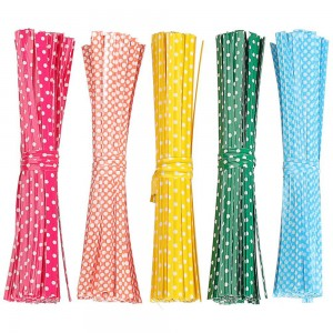 """Mixed Color with White Polka Dots Twist Ties for Cellophane Bags (3.75"""" Long) [100 packs/Lot]"""