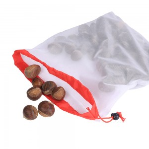 Reusable Eco-Friendly Produce Mesh Drawstring Bags Size 30 cm x 43 cm (11.75 Inches x 16.75 Inches) (100 Bags/Lot)