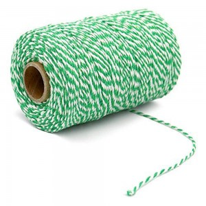 Green and White Twist String for DIY Craft Projects (110 Yards per Roll) [100 Rolls/Lot]
