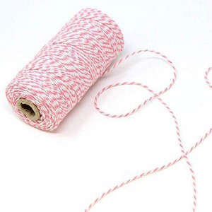 Pink and White Twist String for Party Favor Packaging (110 Yards per Roll) [100 Rolls/Lot]