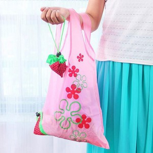 Pink  Polyester Reusable Foldable Shopping Tote Size 38 cm x 58 cm (14.75 Inches x 22.75 Inches) (200 Bags/Lot)