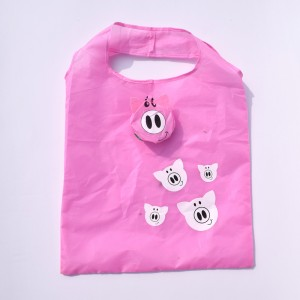 Pink  Polyester Reusable Foldable Shopping Tote 38 cm x 58 cm (14.75 Inches x 22.75 Inches) (100 Bags/Lot)