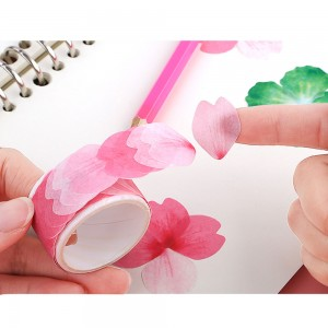 Pink Flower Petal Individual Washi Stickers for Journals (80 Stickers per Roll) [100 Rolls/Lot]