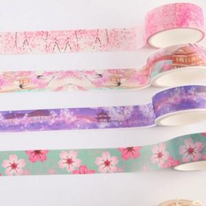 Flower Blossom Decorative Washi Tape for DIY Folder Designs (0.75 inches x 5.5 Yards) [400 Rolls/Lot]