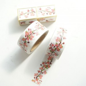 Pink Cherry Blossom Decorative Washi Tape for Journal Decorations (0.75 inches x 7.5 Yards) [200 Rolls/Lot]