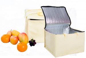 "Yellow Reusable Insulated Sturdy Zipper Cooler Bags 29 cm x 29 cm x 19 cm (11.25"" x 11.25"" x 7.25"") (80 Cooler Bags/Lot)"