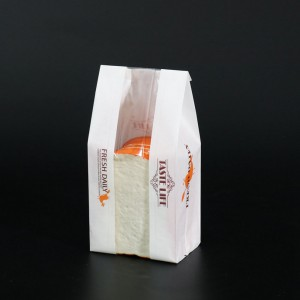 White Loaf Bread Food Bags with Clear Window Size 12 cm x 30 cm + 9 cm (4.5 inches x 11.75 inches + 3.5 inches) (800 Bags/Lot)