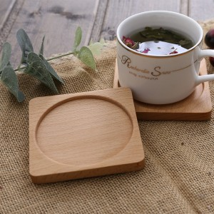 Square Beech Wood Tea Coasters for Drinks in Nude - 100/Lot (8.8 x 8.8 cm/3.25 x 3.25 inches)