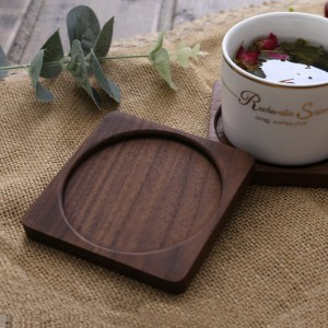 Square Walnut Wood Table Protector Coasters from Beverages in Brown - 100/Lot (8.8 x 8.8 cm/3.25 x 3.25 inches)