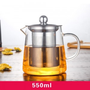 Transparent Glass Teapot in 19oz/550ml for Loose Tea - 30/Lot (13.6 x 13.5 cm/5.25 x 5.25 inches)
