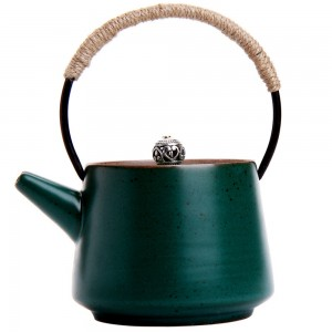 Green Ceramic Teapot with Hemp Rope Handle in 7oz/200ml for Loose Tea - 10/Lot (12 x13.5 cm/4.5 x 5.25 Inches)