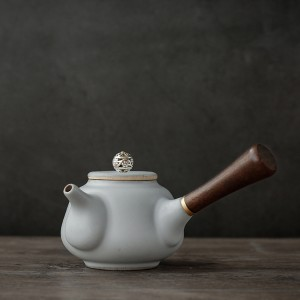 White Stoneware Teapot in 6oz/180ml for Loose Tea - 10/Lot (17 x 8cm/6.5 x 3 Inches)