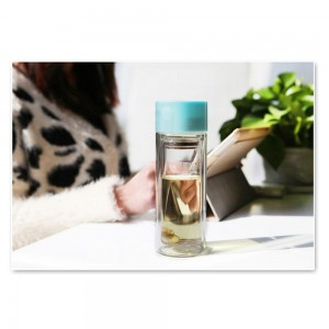 Travel-Friendly Polypropylene Tea Bottle Infuser with 10.5oz/300ml in Blue - 25/Lot (19.2 x 6.4cm/7.5 x 2.5 Inches)