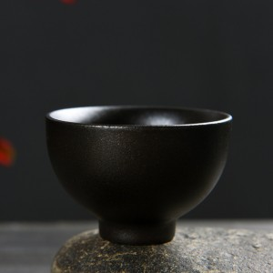 Chinese Black Ceramic Teacup in 1.75oz/50ml - 60/Lot (6 x 4.5cm/2.25 x 1.75 Inches)