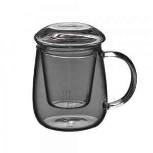 Insulated Transparent Glass Teacup with Infuser in 17.5oz/500ml - 20/Lot (9 x 13.5 cm/3.5 x 5.25 Inches)