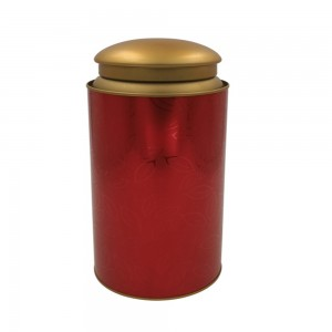 Red Double Lid Tinplate Tea Storage Airtight Containers in 70oz/2000ml - 50/Lot (11.5 x 24.5 cm/4.5 x 9.5 Inches)