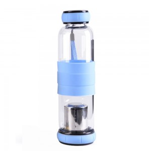 Glass Tea Tumbler Infuser Bottle & Strainer with 19.25oz/550ml, Blue - 20/Lot (7.5 x 24.5 cm/2.75 x 9.5 Inches)