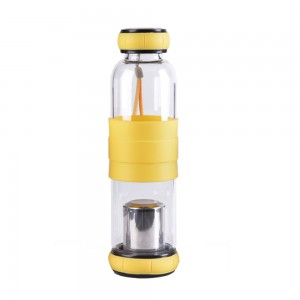 Glass Tea Tumbler Infuser Bottle & Strainer with 19.25oz/550ml, Yellow - 20/Lot (7.5 x 24.5 cm/2.75 x 9.5 Inches)