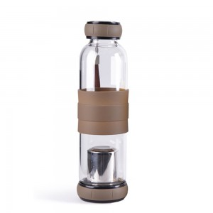 Glass Tea Tumbler Infuser Bottle & Strainer with 19.25oz/550ml, Gray - 20/Lot (7.5 x 24.5 cm/2.75 x 9.5 Inches)