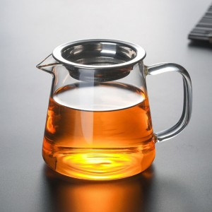 Insulated Transparent Glass + Stainless Steel Tea Pitcher with Handle in 15.75oz/450ml - 40/Lot (9 x 10.2 cm/3.5 x 4 inches)