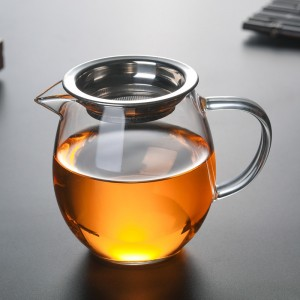 Insulated Transparent Glass + Stainless Steel Tea Pitcher with Handle in 12.25oz/350ml - 15/Lot (6.5 x 9 cm/2.5 x 3.5 inches)