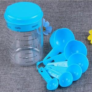 Set of 7 Pieces Blue Plastic Kitchen Measuring Cups 80Cups/Lot
