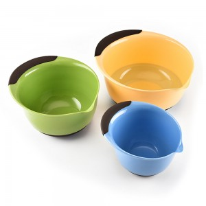 Set of 3 Pieces Colorful Plastic Kitchen Mixing Bowls 10 Bowls/Lot