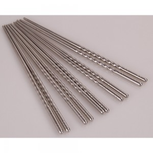 Set of 10 Pieces Silver Reusable Stainless Steel Durable Chopsticks (90 Chopsticks/Lot)