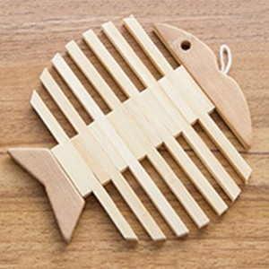 Set of 1 Piece Brown Fishbone Bamboo Non-Slip Trivets For Hot Dishes 100 Trivets/Lot