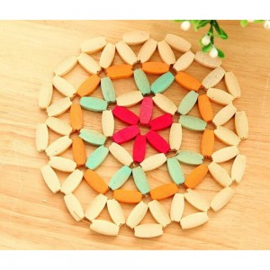 Set of 1 Piece Colorful Round Bamboo Non-Slip Trivets For Hot Dishes 200 Trivets/Lot