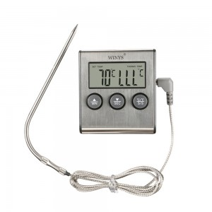 Set of 1 Piece Silver Digital Instant Read Meat Probe Thermometers 6.5x7+11 cm/ 2.5x2.75+4.25 inches 40 Thermometers/Lot