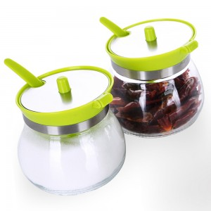Set of 1 Translucent Kitchen Spice Jars With Green Lid 70 Spice Jars/Lot