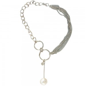 """Silver Double-Ring Pearl Drop Lariat Necklace 15.5"""" - 100/Lot"""