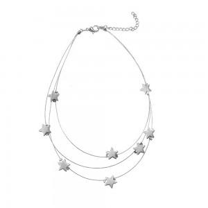 "Silver Triple-Layered Stars Choker Necklace 13.75"" - 100/Lot"