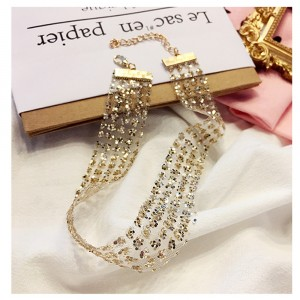 "Gold Sparkly Rhinestone Star Choker Necklace 14.75"" x 0.75"" - 300/Lot"