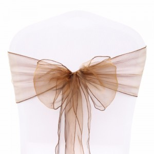 600 Pieces/Lot Flowing Organza Brown Chair Bows for Parties