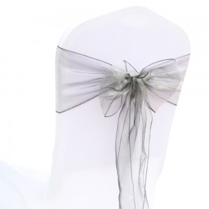 600 Pieces/Lot Flowing Organza Gray Chair Bows for Parties