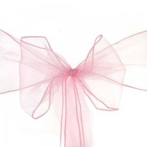 600 Pieces/Lot Flowing Organza Pink Chair Bows for Parties