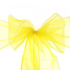 600 Pieces/Lot Flowing Organza Yellow Chair Bows for Parties