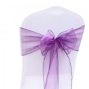 600 Pieces/Lot Flowing Organza Purple Chair Bows for Parties