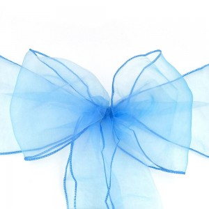 600 Pieces/Lot Flowing Organza Blue Chair Bows for Parties