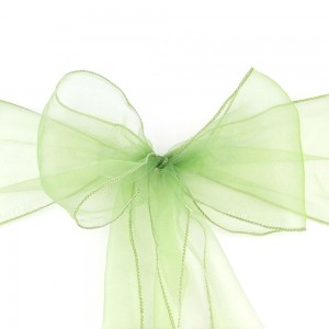600 Pieces/Lot Flowing Organza Green Chair Bows for Parties