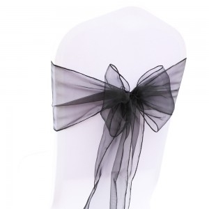 200 Pieces/Lot Flowing Organza Black Chair Bows for Parties