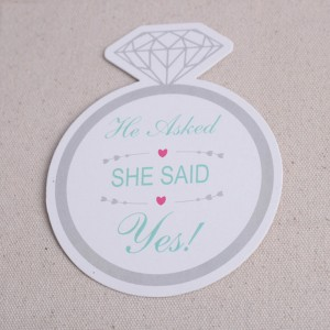 "Paper ""She Said Yes!"" Engagement Party Drink Coasters 100 Packs/Lot(12pieces/pack)"