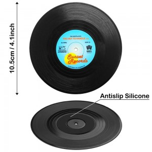 10.5cm/4 inches Vinyl-vinegar copolymer resin Vintage Vinyl Record Party Drink Coasters 80 Packs/Lot(6pieces/pack)
