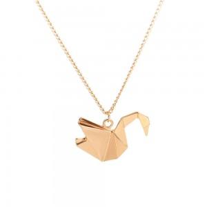 "Gold Geometric Origami Swan Long Pendant Necklace 24.75"" - 200/Lot"