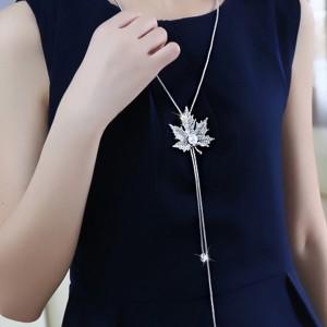 "Silver Maple Leaf Pearl Drop Long Pendant Necklace 35"" - 100/Lot"