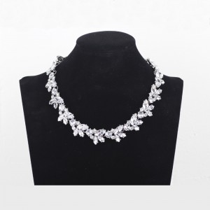"""Bridal Floral Collar Necklace in Silver 17.5"""" - 100/Lot"""