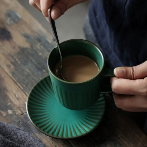 "Insulated Green Ceramic Teacup with Handle and Saucer - 20 Set/Lot [Teacup: 10.8cm x 7.2cm (4.25"" x 2.75"") Saucer: 11.8cm ( 4.5"")]"